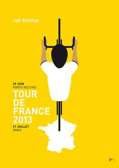 Tour de France 2013 Minimal Poster by Chungkong Art Poster Bike, Poster Art, Poster Prints, Art Print, Art Posters, Atelier Theme, Minimal Poster, Marc Chagall, Bicycle Art