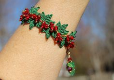 Christmas Holly Leaves Beaded Micro Macrame by PicotsnPosies