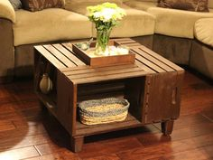 coffee table made out of wooden crates