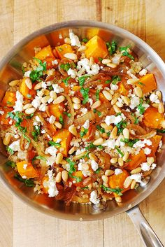Quinoa salad with feta, toasted pine nuts, butternut squash and caramelised onions