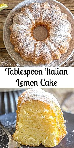 Lemon Cake a delicious moist Italian Cake, and all you need is a tablespoon for measurement. Fast and Easy and so good. The perfect Breakfast, Snack or Dessert Cake Recipe. Mini Desserts, Dessert Cake Recipes, Lemon Desserts, Easy Cake Recipes, Light Desserts, Sweets Cake, Top Recipes, Family Recipes, Baking Recipes