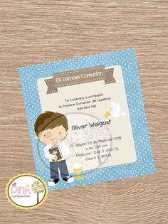 Boy First Communion Invitation //Each by PinkPaperStudioMiami