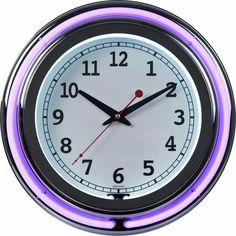 Battery Operated High Polished Chrome Purple Double Ring Neon Clock 3 x 14 Inch #WallClock #BatteryOperated #HighPolished #Chrome #Purple #DoubleRing #Neon #HangingWall #Clock #WallClocks #Home #Kitchen #HomeDecor #KitchenDecor #3x14Inches