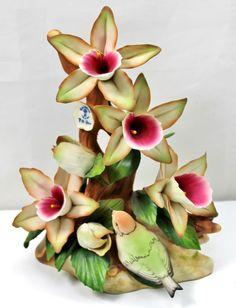 Capodimonte Fine Italian Porcelain Pink Orchid & Bird Centerpiece