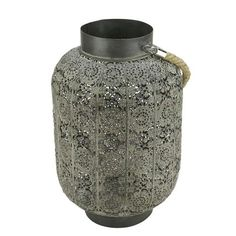 """15"""""""" Distressed Gray Lace Cut-Out Design Pillar Candle Lantern with Glass Holder"""