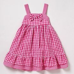 Girls Gingham Sundress with Bow and Ruffle Trim - Girly Dresses: - - Baby Girl Dress Design, Baby Girl Dress Patterns, Little Girl Dresses, Girls Dresses, Toddler Dress, Toddler Outfits, Baby Dress, Girl Outfits, Girls Boutique Dresses