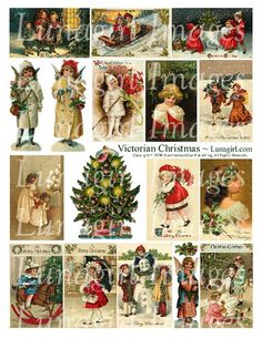 Victorian Christmas digital images download collage sheet clapsaddle children tree angels holiday printable