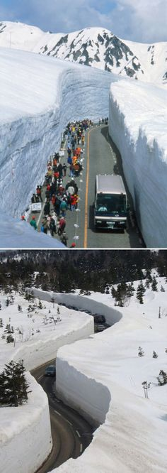 Japan's Amazing Tateyama Kurobe Alpine Route - The 20-meter-high corridor was sculpted using snowblowers and backhoe. The path was completed in 1981 and continues to draw tourists, actually only tourists---the road only services charter buses of gawking visitors---to this day.