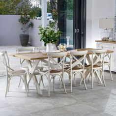 Byron 2300 Dining Package with French Cross Chairs (Table: 2300W x 900D x 785H mm. Chairs: 460W x 420D x 870H mm.) RRP $1666