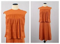 Coral Orange Pleated Babydoll Dress  Size by TheBirdcageVintage, $54.99 #vintage #etsy #70s #1970s