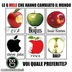 Tu quale #mela preferisci? Seguici su youtube/bastardidentro #bastardidentro #stevejobs #beatles www.bastardidentro.it