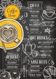 Café café menu, modelo de projeto. vetor e ilustração royalty-free royalty-free