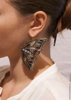 """Купить Серьги """"Мотыльки"""" - серьги, серьги с бабочками, бабочки, мотыльки, украшения с бабочками, массивные серьги"""