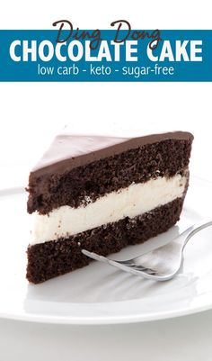 Whoa A low carb chocolate cake that tastes like a Ding Dong Are you kidding me Delicious keto chocolate cake with a cream filling and a sugar-free chocolate glaze keto ketodessert ketorecipes lowcarb lowcarbdessert dingdongcake Low Carb Chocolate Cake, Chocolate Desserts, Chocolate Glaze, Chocolate Cupcakes, Low Carb Sweets, Low Carb Desserts, Low Carb Recipes, Low Carb Dessert Easy, Sugar Free Desserts