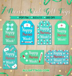Printable nurses week gift tags. Get them in PDF format at http://allgifttags.com/download/nurses-week-gift-tags/