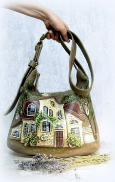 Leather Hobo Bag  crossbody bag  shoulder bag  Hand-painted purse  hand-painted houses  lovely houses - pinned by pin4etsy.com #leatherbags   #leather   #hobobag   #crossbody   #bag  #CityRomance