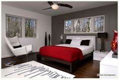 gray red bedroom - Master bedroom - I'd add light blue sheets for an additional contrasting color