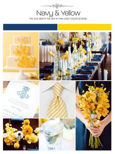 Navy and yellow wedding inspiration board, color palette.if I had a spring wedding. Navy Yellow Weddings, Navy Blue Wedding Cakes, Fall Wedding, Our Wedding, Dream Wedding, Wedding Color Schemes, Wedding Colors, Wedding Themes, Wedding Decorations