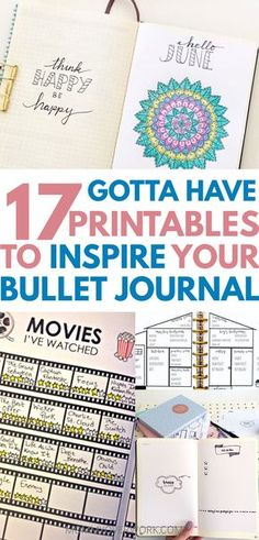 Definite inspiration for my bujo! Unique printables to add to my collection and spreads setup. I really liked the ideas for the gratitude jar, movie tracker, coloring page. And stickers!