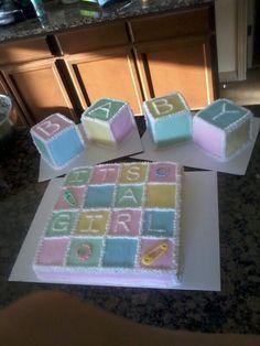 Baby girl, baby blocks baby shower cake, no fondant