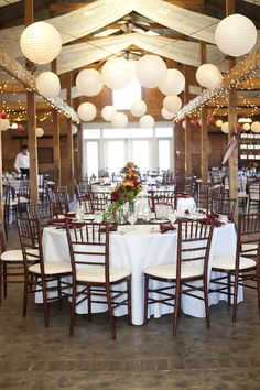 Bluemont Vineyard Reception - same setup except for ivory linens, navy napkins, burlap runner and gossamer draping will be chiffon. Rustic Country Wedding Decorations, Reception Decorations, Rustic Weddings, Indoor Christmas Lights, White Lanterns, Wedding Of The Year, Wedding Wishes, Wedding Bells, Bluemont Vineyard