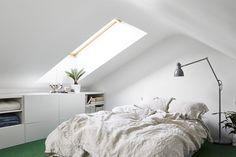 Small stylish attic studio in Stockholm.   Love, except for the green carpet.