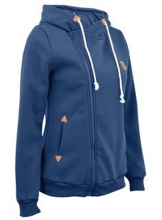 hot sale online b9e8b c60f0 Fashion Turtleneck Oblique Zip Drawstring Hooded Sweatshirt