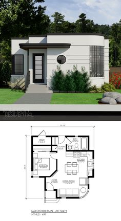 Small House House Design 2019 Contemporary Nyhus 491 Small Tiny Houses In 2019 House Simple Enough Good In 2019 Tiny House Design Dream House 30 Beautiful Small House Front Elevation Small House Design, Modern House Design, 2 Bedroom House Design, 1 Bedroom House Plans, Small House Layout, Streamline Moderne, Home Design Plans, Small House Plans, Tiny Home Floor Plans
