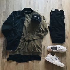 Black bomber | Olive crew neck sweatshirt | black under shirt | black jeans | coke white sneakers | fuck it all hat