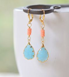 Blue Jade Dangle Earrings with Peach Beads by RusticGem.