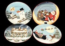 SAKURA ONEIDA DAVID CARTER BROWN HOLIDAY MERRY LITTLE CHRISTMAS 4) SALAD PLATES