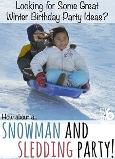 This is a great idea for a winter birthday party- a snowmen and sledding party! This post includes free printable invitations and thank you notes plus tons of great winter birthday party ideas! Girls Birthday Party Games, Birthday Party At Home, Winter Birthday Parties, Outdoor Birthday, Winter Parties, Birthday Party Favors, Birthday Fun, Birthday Ideas, Slumber Party Crafts