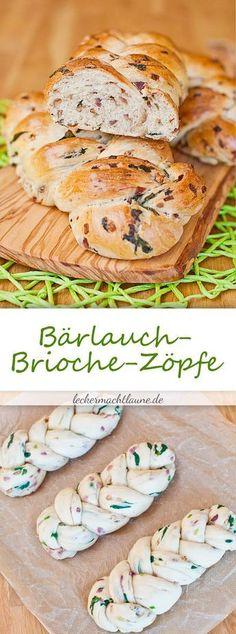 Bärlauch-Brioche-Zöpfe {bärlauchsaison} Tasty Bread Recipe, Burger Bread, Baking Basics, Bread And Pastries, Specialty Foods, World Recipes, Spring Recipes, International Recipes, Breads