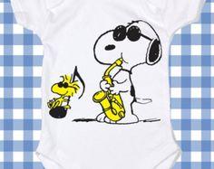 NEW Snoopy Music Screen Printed Tshirt Peanuts One-Piece Newborn Custom T-Shirt Baby boy Bodysuit Romper ALL SIZES