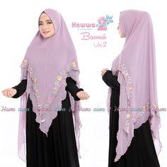 Khimar Bordir Basmah Vol 2 by Hawwa Aiwa Kerudung Ceruty 2 Lapis Hijab Collection, Vol 2, Hijab Dress, Abaya Fashion, Niqab, Muslim Women, Designer Dresses, Dressing, Womens Fashion
