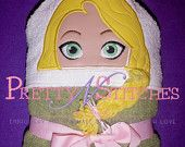 Long Haired Princess Rap Peeker Applique Embroidery design (5X7 Hoop) Inspired by Rapunzel