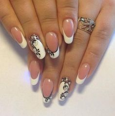 Fashion nails and pictures ideas nail design, new nail art home manicure. Beautiful Nail Art, Gorgeous Nails, Pretty Nails, Lace Nails, Flower Nails, Bridal Nails, Wedding Nails, Nagellack Trends, Creative Nails