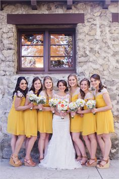 Vintage Yellow and Grey Wedding with a resourceful bride that chose to borrow her decor rather then buy it. Vintage Style Bridesmaid Dresses, Turquoise Bridesmaid Dresses, Yellow Bridesmaids, Wedding Bridesmaid Dresses, Brides And Bridesmaids, Mustard Yellow Wedding, Gray Weddings, Wedding Colors, Wedding Inspiration