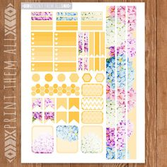 Hydrangea Flowers Planner Stickers Printable by PrintThemAllStudio
