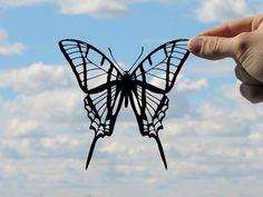 Butterfly Handmade Original Papercut Gift: Hand-Cut Paper Art Silhouette (UNFRAMED)