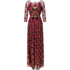 Marchesa Notte Floral Embroidered Gown ($1,566) ❤ liked on Polyvore featuring notte by marchesa
