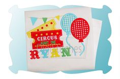 Circus Tickets Applique featuring tickets, balloons and a banner! Font shown is Circus Embroidery Font and is available as a separate purchase.