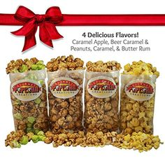 Popcorn Gift Set Featuring 4 Flavors of Popped Caramel Corn in a Gift Box Caramel Apple Beer Caramel with Peanuts Butter Rum and Plain Caramel Flavors by Sweet Treats Movie Night *** You can find out more details at the link of the image.