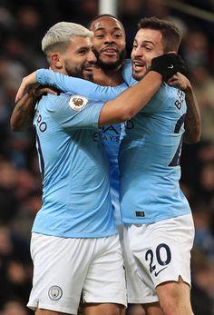 Sergio Aguero of Manchester City celebrates after scoring his team's… Manchester City, Manchester England, Manchester United, Soccer Players, Football Team, Leg Circuit, Kun Aguero, Zen, Raheem Sterling