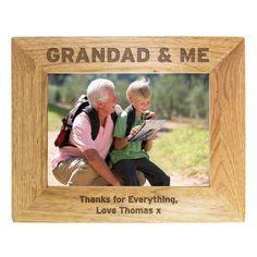 Personalised 5 x 7 Photo Frame - Grandad & Me Grandparents Photo Frame, Personalized Gifts For Grandparents, Grandparent Photo, Personalised Gifts, Engraved Photo Frames, Personalized Photo Frames, Thanks For Everything, Photo Engraving, Dream Decor