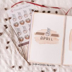 Coffee Stickers, Coffee Bullet Journal Stickers, Aesthetic Planner Stickers, Coffee and Donut Stickers Creating A Bullet Journal, Bullet Journal Monthly Spread, Bullet Journal Set Up, Bullet Journal Cover Page, Bullet Journal Themes, Bullet Journal Layout, Journal Covers, Bullet Journal Inspiration, Bullet Journals