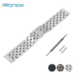 Stainless Steel Quick Release Watch Band 22mm for Moto 360 2 46mm 2015 Strap Wrist Belt Bracelet Black Silver + Spring Bar +Tool