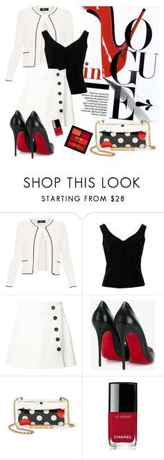 """mini skirt"" by cherryoblossom ❤ liked on Polyvore featuring Paule Ka, ADAM, Misha Nonoo, Christian Louboutin, RED Valentino, Chanel and NYX"