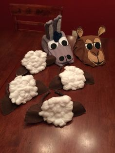 My first homemade Nativity costume masks. Donkey, camel & sheep headbands.