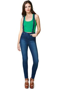 Santana Suspender Skinny Jeans | Shop Sale at Nasty Gal